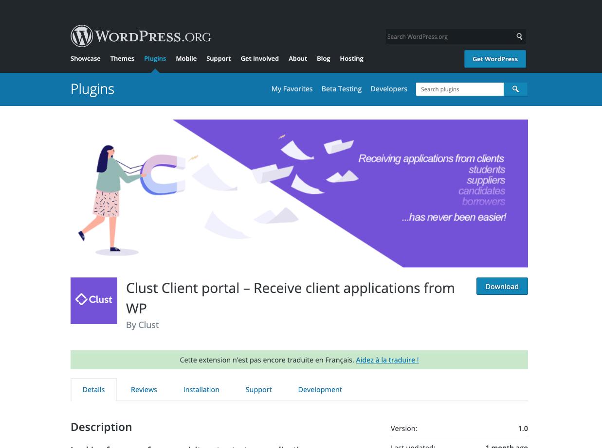 wordpress clust client portal page